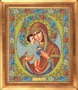 """И-022-GC  Икона Божией Матери """"Жировицкая"""" 27 x 32 см"""