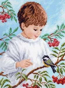 """07/БН-МП """"Малыш с птичкой"""" 28х34 см"""