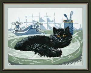 """647-Овен """"Черный кот"""" 35х26 см"""
