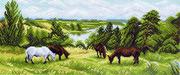 "1070-Матренин Посад ""Пейзаж с лошадьми"" 24х47 см"