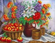 """Б-1248-Паутинка """"Яблоки и садовый букет"""" 36х28 см"""