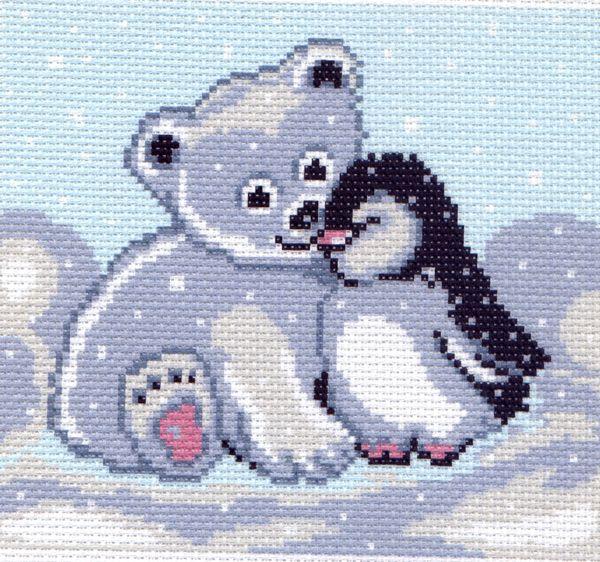 """0126-Матренин Посад """"Мишка и пингвин"""" 20х22 см"""