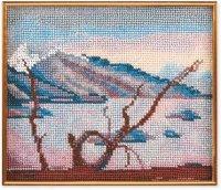 """В-035-Кроше """"Горное озеро"""" 20х17 см"""