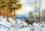 """1528-Риолис """"Лось в зимнем лесу"""" 40х28 см"""