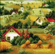 """1569-Риолис """"Сербский пейзаж"""" 40х40 см"""