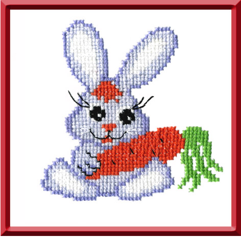"157-Овен ""Зайчик с морковкой"" 15x15 см"