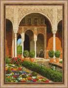 "1579-Риолис ""Двор ручья.Дворец Хенералифе"" 30х40 см"