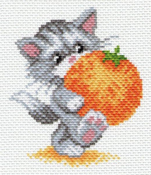 """1657н-Матренин Посад """"Котик с апельсином"""" 16х20 см"""