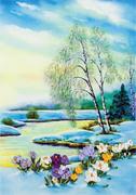 """2013ЖК-Panna """"Цветущие крокусы"""" 20х28 см"""