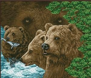 "33000-Астрея Арт ""Бурые медведи"" 55х50 см"