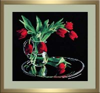 """318-Овен """"Тюльпаны на черном"""" 35x32 см"""