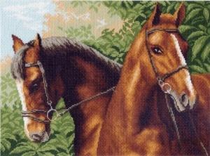 """0608-Матренин Посад """"Пара лошадей"""" 37х49 см"""