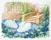 """64-07-Чудесная игла """"Лебединая верность"""" 26х21см"""