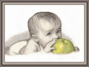 "511-Овен  ""Малыш с яблоком"" 30х20 см"