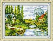 """7119-TBYst """"Домики у реки"""" (мозаика) 95х72 см"""