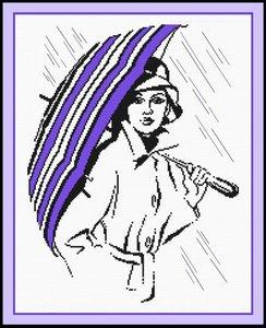 """516-Овен  """"Девушка под зонтиком"""" 23х30 см"""