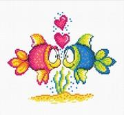 """732-Овен """"Влюбленные рыбки"""" 18х15 см"""