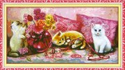 """7334-TBYst """"Котята и ваза с цветами"""" (мозаика) 110х60 см"""
