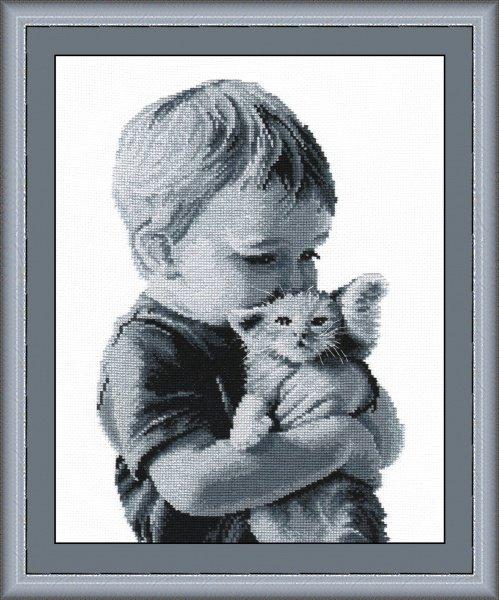 """551-Овен  """"Малыш с котенком"""" 20х32 см"""