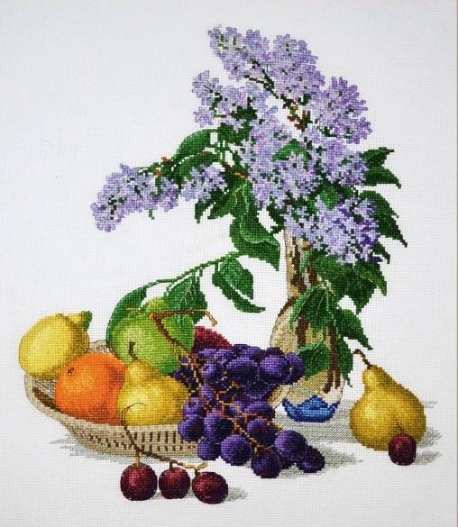 """883-Овен """"Сирень и фрукты"""" 32х37 см"""