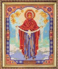 """В-174-Кроше """"Богородица Покрова"""" 20х25 см"""