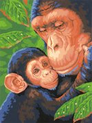 "73-91470-Dimensions ""Шимпанзе с детёнышем"" 23х30,5"
