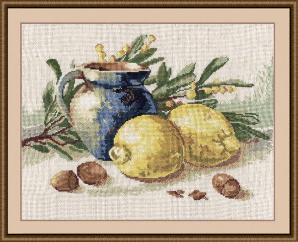 "617-Овен ""Натюрморт с лимонами"" 38х25 см"
