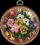 """B-033-Вышиваем бисером """"Часы """"Букет"""" d 18 см"""