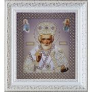 "Р-269-Картины Бисером ""Икона свт.Николая Чудотворца (серебро)"" 18,5х21,5 см"