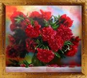 """Р-030-Картины Бисером """"Пионы"""" 44x47 см"""