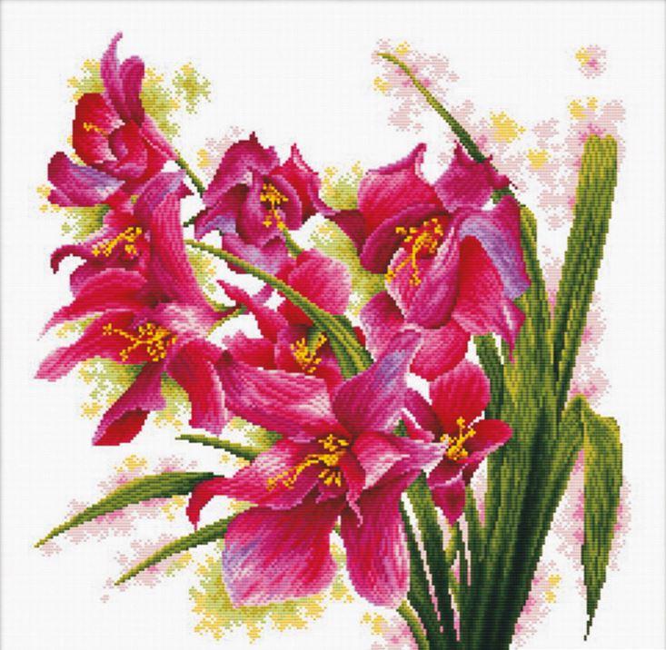 """АН-003-АбрисАрт """"Лиловый орхидеи"""" 40х40 см"""