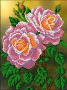 """B-112-Вышиваем бисером """"Розовые розы"""" 19,5x26,5 см"""