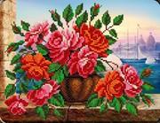 """B-123-Вышиваем бисером """"Розы в вазе"""" 20x26 см"""
