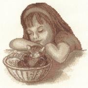 "8-037-Кларт ""Девочка с котенком"" 22х21,5 см"