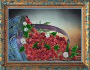 """Р-066-Картины Бисером """"Малина"""" 26х19 см"""