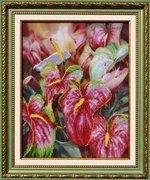"Р-076-Картины Бисером ""Цветок фламинго"" 31х25 см"